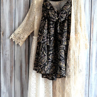Long gypsy duster, Bohemian creme crochet jacket