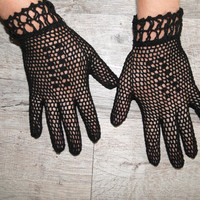 Black crochet vintage gloves