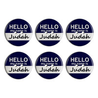 Judah Hello My Name Is Plastic Resin Button Set of 6