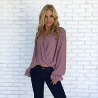 Wrap City Blouse in Plum