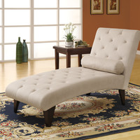 Chaise Lounger - Taupe Velvet Fabric