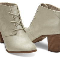 WHITE GOLD METALLIC SYNTHETIC LEATHER WOMEN'S LUNATA LACE-UP BOOTIES