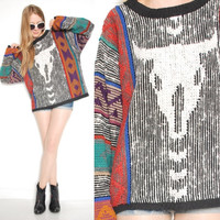 vintage 90s southwest cattle skull over sized woven sweater jumper top shirt 1990s 90s clothing