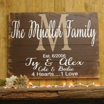 Name Sign Initial Sign Family Name Sign Pallet Sign Personalized Sign Rustic Wall Decor Family Photo Wall Decor Above Mantel Decor Handmade