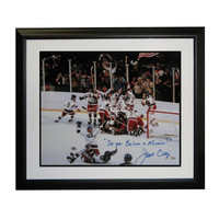 Autographed Jim Craig 16x20 from the 1980 Olympics inscribed  do you believe in miracles?