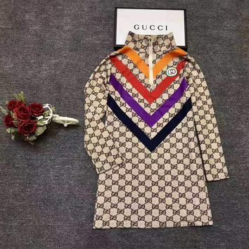 """Gucci""Woman's Leisure Fashion Letter Personality Stripe Printing Long Sleeve Tops"