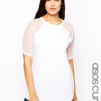 ASOS Curve | ASOS CURVE Exclusive T-Shirt With Mesh Raglan Sleeves at ASOS