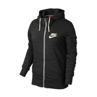 """Nike"" Women Sports Casual Letter Print Loose Long Sleeve Zip Cardigan Hooded Sweater Coat"