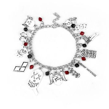 Comics Suicide Squad Harley Quinn Charm Bracelet Silver Plated