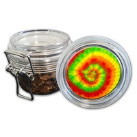 Airtight Stash Jar with Silicone Seal - Peace, Love and Tie Dye #4 - Food-Grade Plastic with Locking Wire Top - Smell Proof Hermes Container