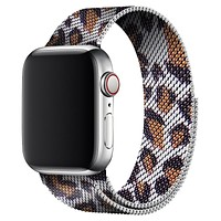 Gray Leopard Milanese Apple Watch Band