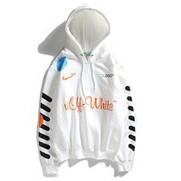 Off White X  NikeClassic Popular Women Men Leisure Long Sleeve Hooded Sweater Top Sweatshirt White