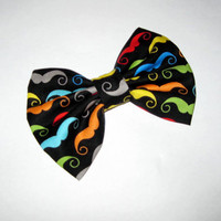 Mustache fabric bow with rainbow colored stashes, black cotton fabric, Large hair clips, classic hairclips, nerdy geeky trendy fashionable