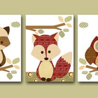 "Art for Kids Room Kids Wall Art Baby Boy Nursery Baby Boy Room Decor Baby Nursery Decor set of 3 8"" x 10"" Print red fox owl decoration"