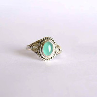 green onyx stone ring, silver ring, stone ring, 92.5 sterling silver, silver green onyx  ring, Natural  green onyx  stone Silver Ring,RNSL42