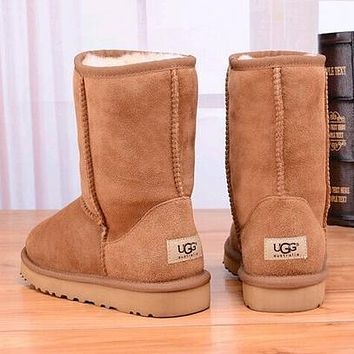 mieniwe? UGG Women Fashion Leather Snow Boots In Tube Boots Shoes