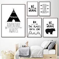 Tent Bear Arrow Brave Quotes Wall Art Canvas Painting Nordic Posters And Prints Black White Wall Picture Baby Kids Room Decor