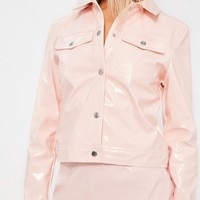 Missguided - Galore Pink Patent Faux Leather Jacket