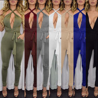 2016 New Fashion Rompers Women Jumpsuit Sexy Backless 7 Colors Playsuit Bodysuits Elegant Sleeveless Bandage Jumpsuits XD259