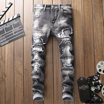 Men Slim Ripped Holes Jeans [3444984512605]
