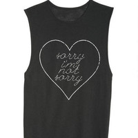 Sorry I'm Not Sorry Muscle Tank - Black