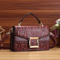 FENDI 2018 new fashion double F embossed letters  fashion flip bag women's shoulder bag Messenger bag