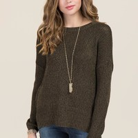 Daria Elbow Patch Step Hem Pullover