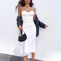 New women's white suspender skirt slim mid-length skirt pleated backless cross line lace up low-cut sexy dress white silk