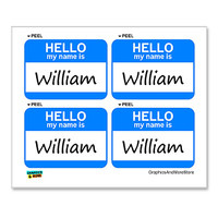 William Hello My Name Is - Sheet of 4 Stickers