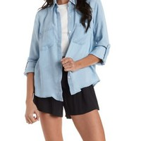 Split-Back Button-Up Denim Chambray Shirt