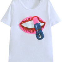 Sequined Lip Print White T-Shirt