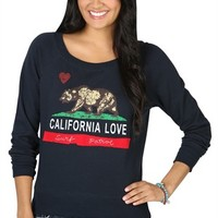 Long Sleeve French Terry Top with California Love Screen