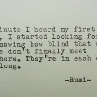 RUMI Love Poem RUMI Quote Handtyped Quote with Vintage Typewriter