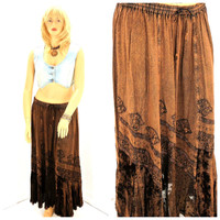 Boho acid washed brown maxi skirt size XL / plus size, hippie Indie long festival skirt, embroidered bohemian skirt xxl, SunnyBohoVintage