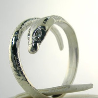 Very Cool New Snake Wrap Ring Silver Size Adjustable