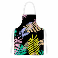 "Vasare Nar ""Tropical Palm 90s"" Black Multicolor Art Deco Floral Artistic Apron"
