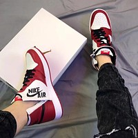 "Nike Air Jordan 1 Rebel WMNS ""Top 3"" side zipper, personality, ""crooked"" laces, fashionable men's and women's high-top sneakers, sports shoes"
