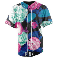 Victoria Secret Pink Neon Roses V2 Button Up Baseball Jersey