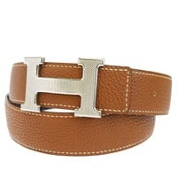 Authentic HERMES Constance H Buckle Belt Leather Silver Black Brown #85 87EK529