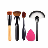 5pcs/set Makeup Brushes Set Powder Blush Contour Foundation Brush Make Up Brush Tool Cosmetics Kits + Sponge Puff