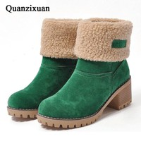 QUANZIXUAN Brand Women Boots Female Winter Shoes Woman Fur Warm Snow Boots Square High Heels Ankle Boots Women Black Boot Size43
