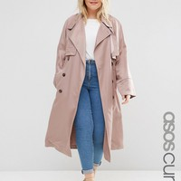 ASOS CURVE Mac with Waterfall Drape and Roll Back Sleeve