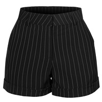 LE3NO Womens Striped Rolled Cuffs Shorts with Pockets