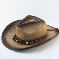 Light Weight Paper Woven Cowboy with Beaded Band Hat