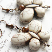 Dangle Earrings - Cream White Turquoise Butterfly Earrings - Freshwater Pearl - Swarovski Crystals - Natural Howlite - Antique Copper