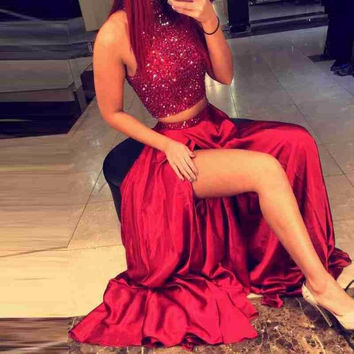 Two Pieces Sparkly Beading 2016 Red Evening Dress Off Shoulder Mermaid High Side Slit Prom Dress Party Gowns Robe De Soiree EE49