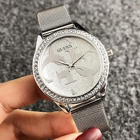 GUESS Fashion New Dial Letter Diamond Round Shell Leisure Wristwatch Watch