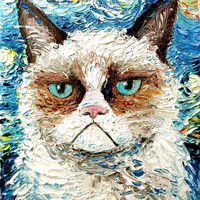 Grumpy Cat meets Starry Night print of original oil painting 16x20 inches