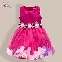 Sequin Flower Dress Party Birthday Wedding Princess Toddler Baby Girls Clothes Children Kids Lycra Dresses