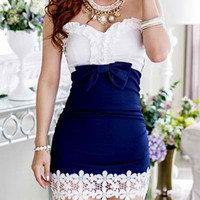 Blue Color Block Lace-Paneled Mini Dress